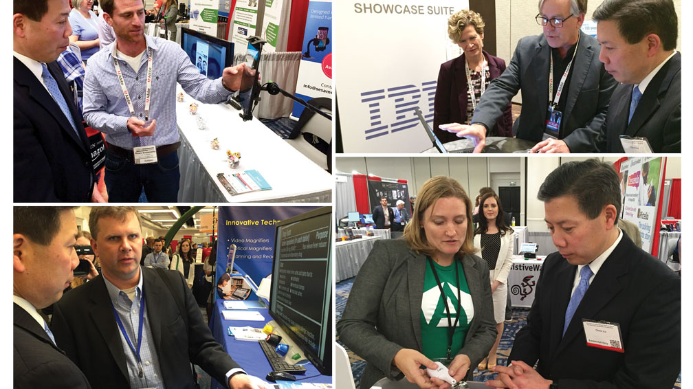 Top left: Rowee, of Sesame Enable, demonstrating their hands-free technology, top right, IBM with their Showcase Suite. Bottom left, Freedom scientific with screen magnfiers and bottom left Google demonstrating their Liftware stabilizing spoon to Deputy Secretary Lu